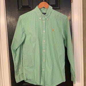Ralph Lauren boys green striped button down 18-20